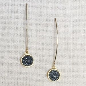 Pull-Through Drop Grey Druzy Dangle Earring